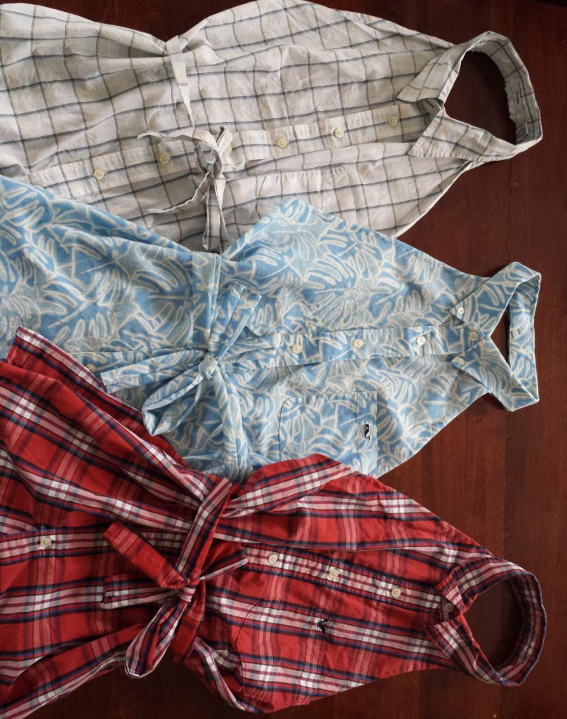 If you're a visual learner, there are plenty of do-it-yourself videos online for fashioning an apron from a dress shirt.