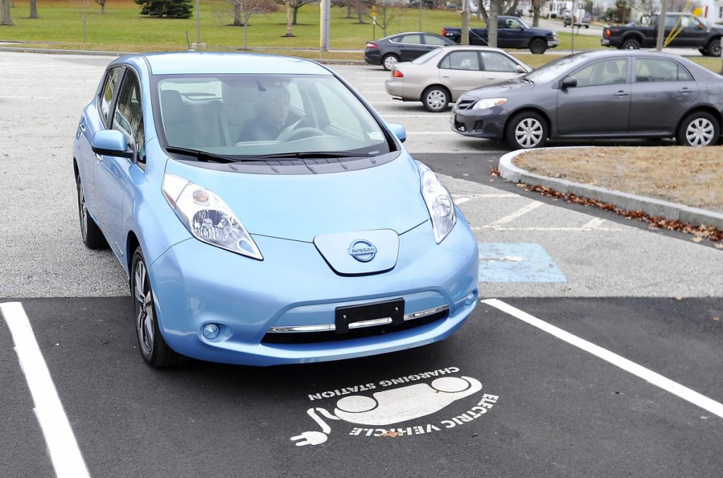 The Maine DOT is proposing a $250 annual fee on all-electric cars, like this Nissan Leaf owned by the city of South Portland, and on gas-electric hybrids. A letter writer wonders if the fossil fuel industry is behind the idea.