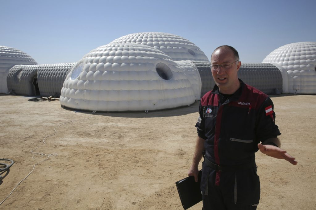 "Gernot Groemer commands the AMADEE-18 Mars simulation in the Dhofar desert of southern Oman. ""No matter who is going to this grandest voyage of our society yet to come, I think a few things we learn here will be actually implemented in those missions,"" he said. (Associated Press/Sam McNeil)"