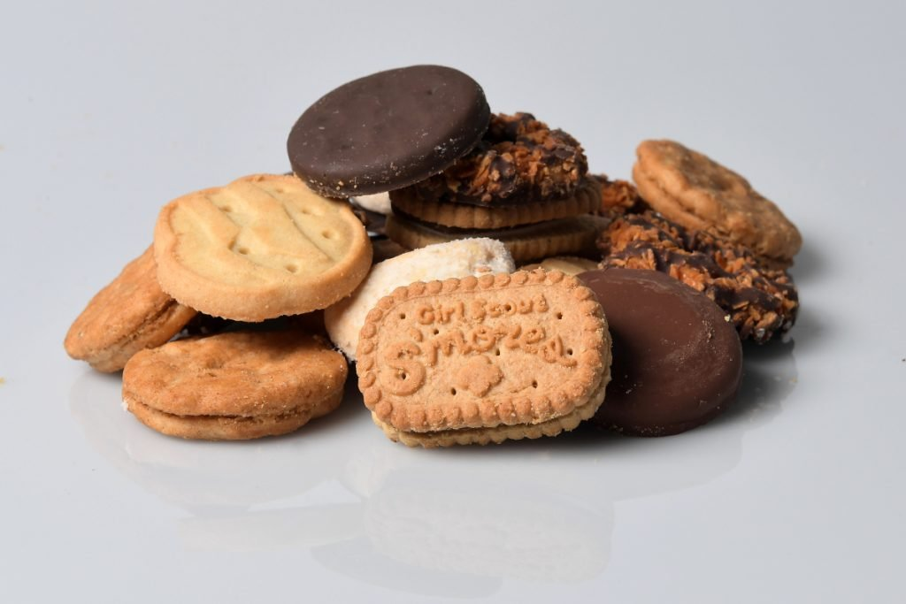 Girl Scout S'mores, Samoas, Do-si-dos, Tagalongs, Trefoils, Savannah Smiles and top seller Thin Mints.