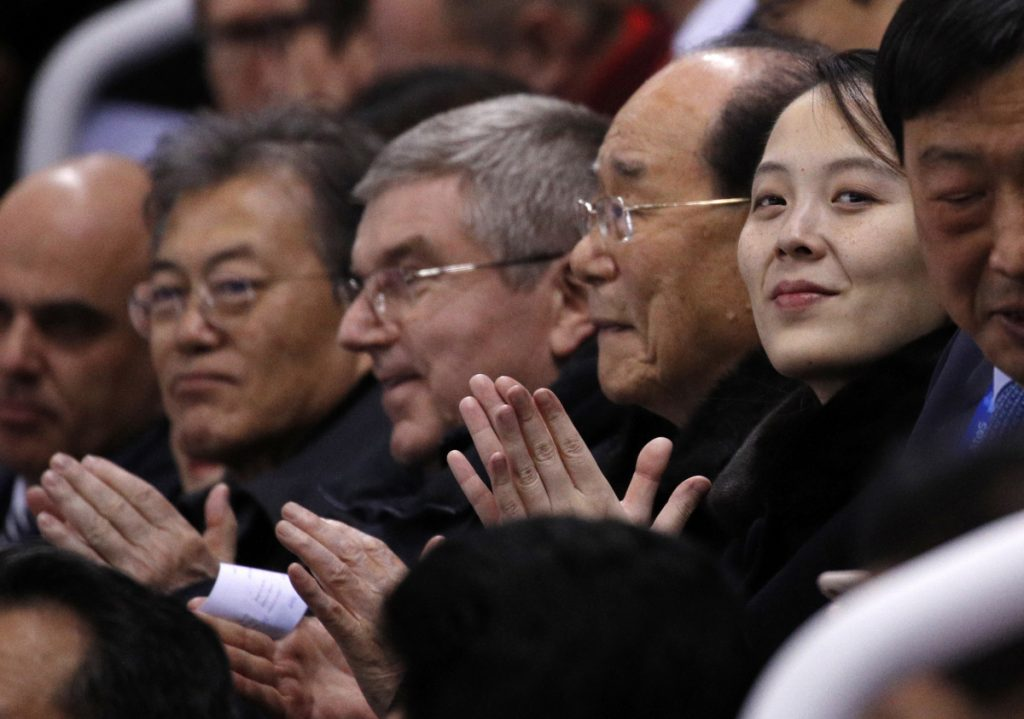 Kim Yo Jong, sister of North Korean leader Kim Jong Un, watches the second period of the preliminary round of the women's hockey game at the 2018 Winter Olympics in Gangneung, South Korea, on Saturday.