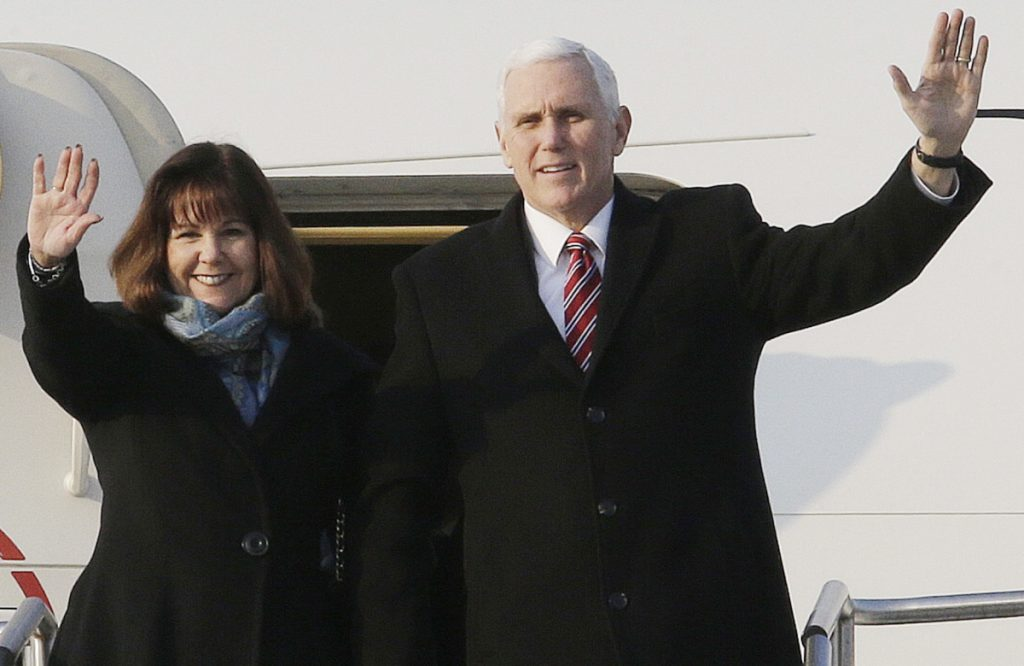 U.S. Vice President Mike Pence and his wife Karen Pence arrive in Pyeongtaek, South Korea on Thursday. Pence said his trip was to express resolve regarding North Korea.
