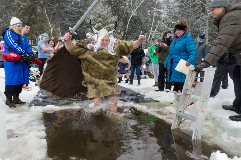 Allen Bernier, dressed as Hagar the Horrible, plunges into frigid water Saturday during the 25th annual Polar Bear Dip.