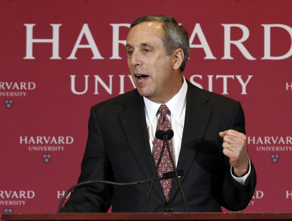 Lawrence Bacow speaks after being introduced Sunday as the next president of Harvard University.