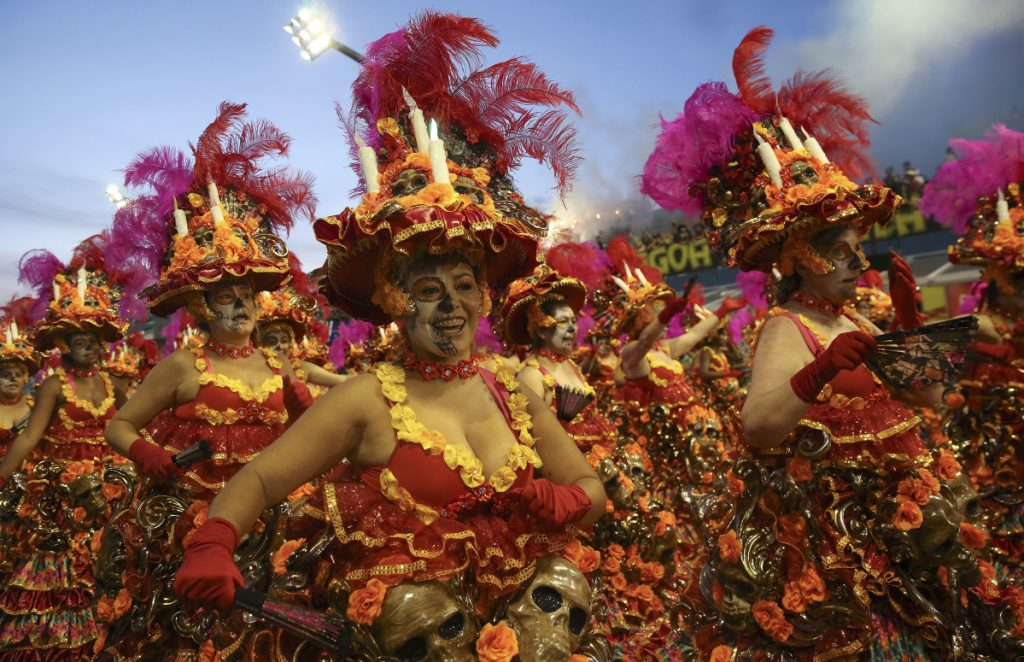 Dancers from the Vila Maria samba school perform during a Carnival parade in Sao Paulo, Brazil, Sunday. Associated Press/Andre Penner