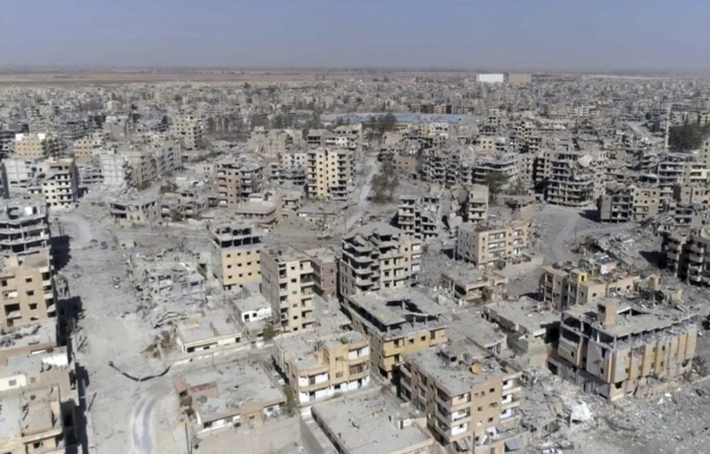 Drone video image from October shows damaged buildings in Raqqa, Syria, two days after military operations to oust the Islamic State ended.