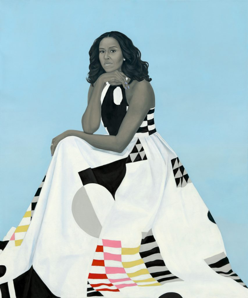 Michelle LaVaughn Robinson Obama's portrait by Amy Sherald, oil on linen, unveiled at the National Portrait Gallery in Washington.
