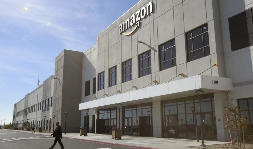 The new Amazon Fulfillment Center in Sacramento, Calif. Amazon Business has been targeting hospitals with its offering of gloves, masks and other health-related supplies.