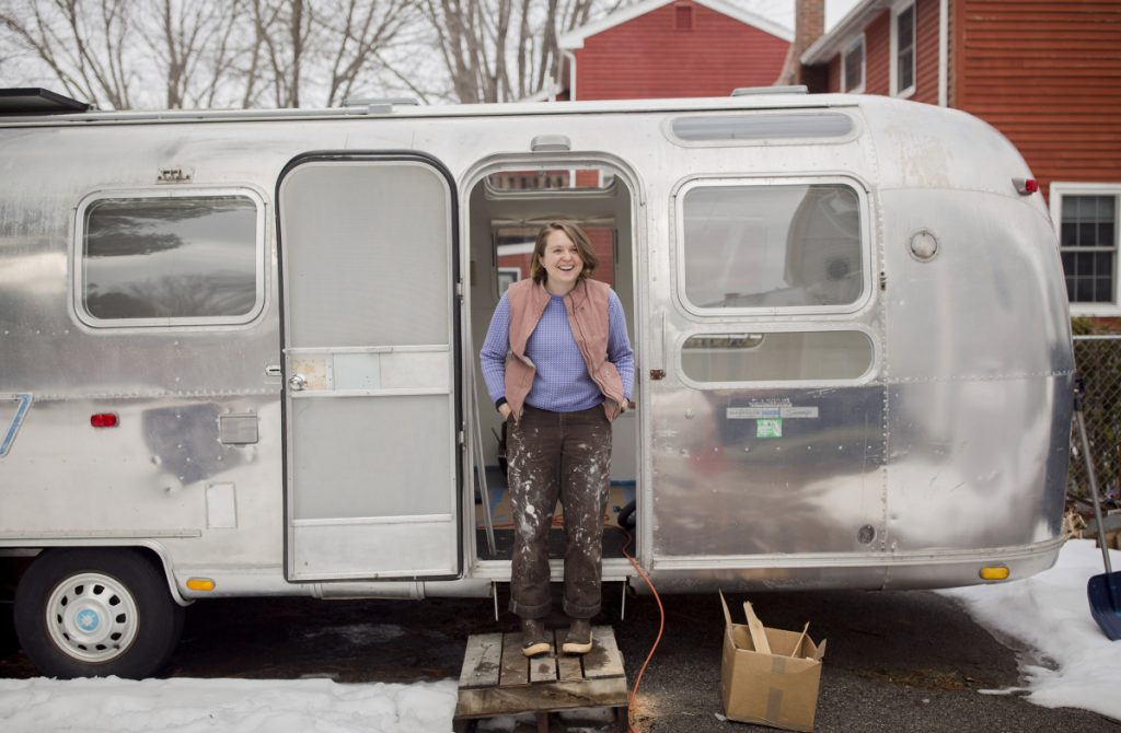 Galen Koch outside of her Airstream trailer with which she'll visit Maine communities to gather stories for her project, The First Coast.