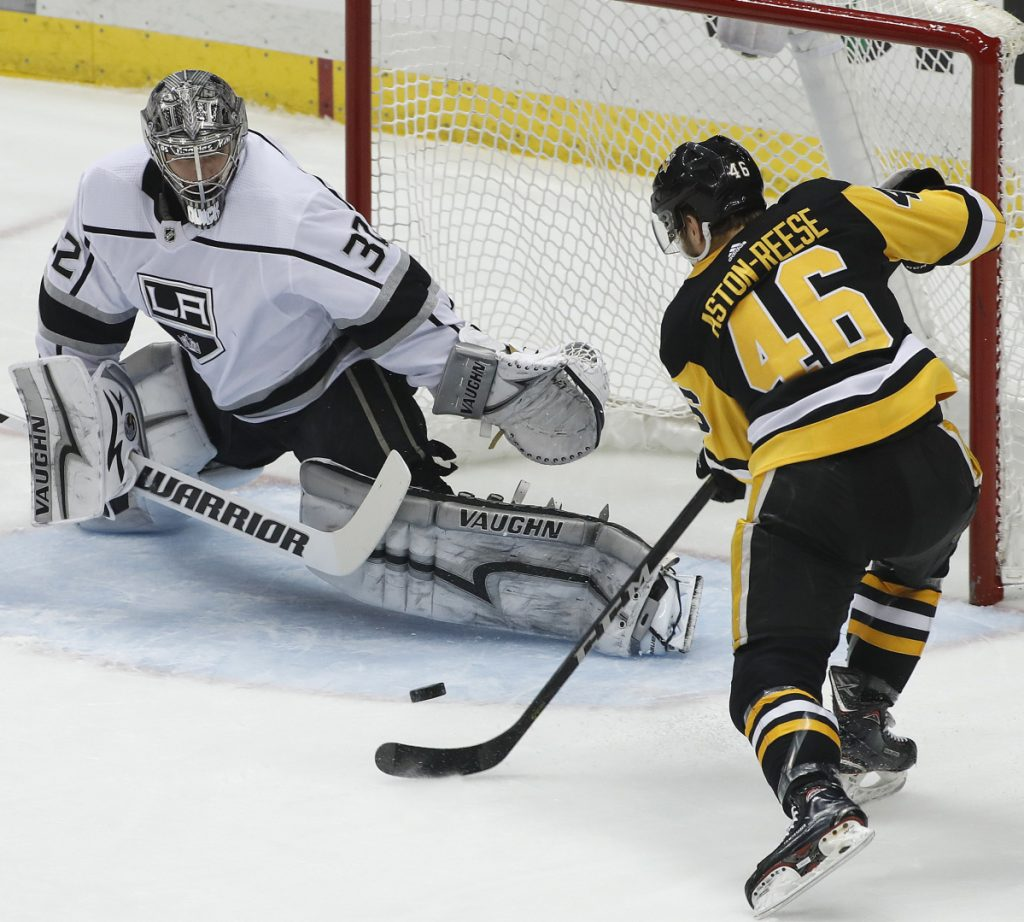 Zach Aston-Reese of the Penguins can't get a shot past Kings goaltender Jonathan Quick in the first period Thursday night. He did, however, score in the third period to break a 1-1 tie.