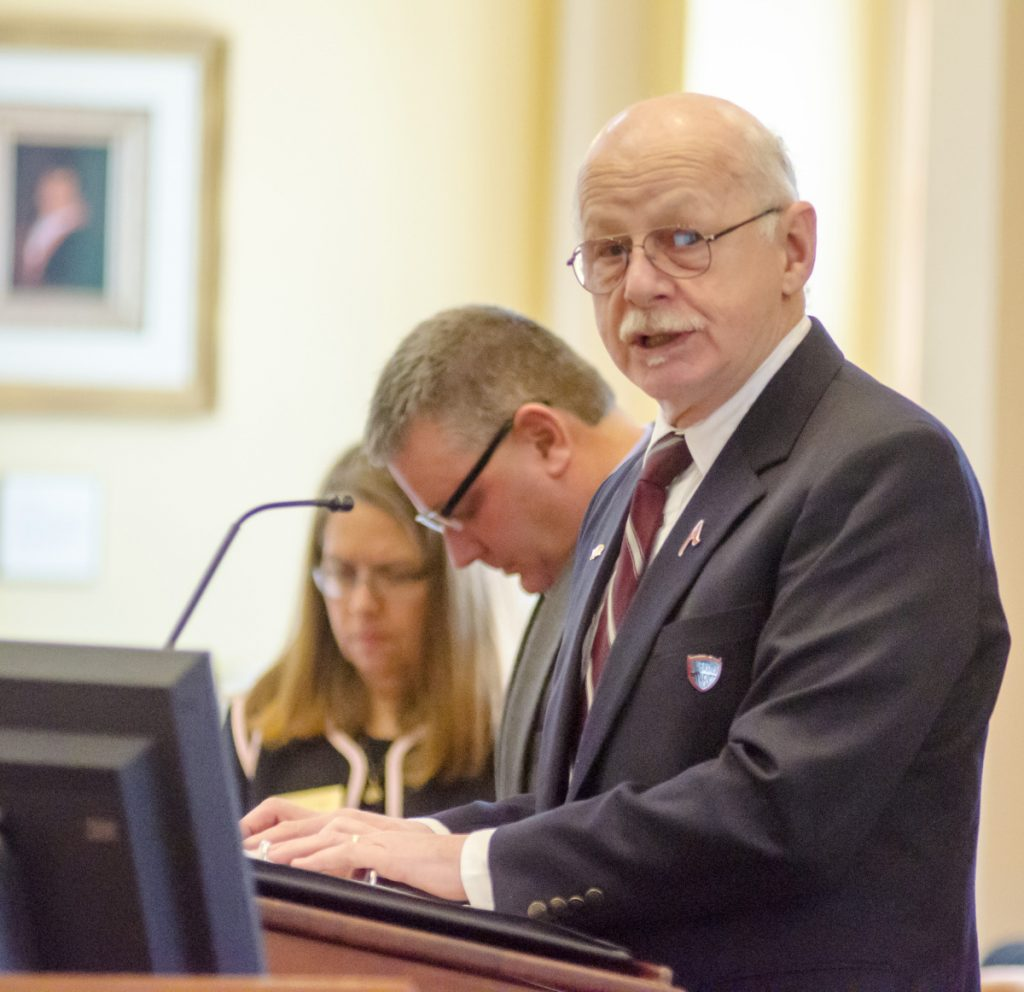 Tom Waddell of Litchfield delivers the Maine Senate's opening invocation Thursday morning at the State House.