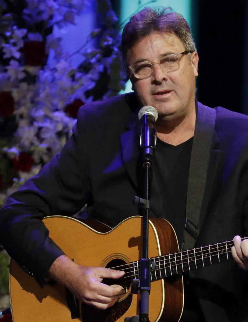 Vince Gill performs at the Grand Ole Opry House in Nashville, Tenn., on Sept. 14, 2017.