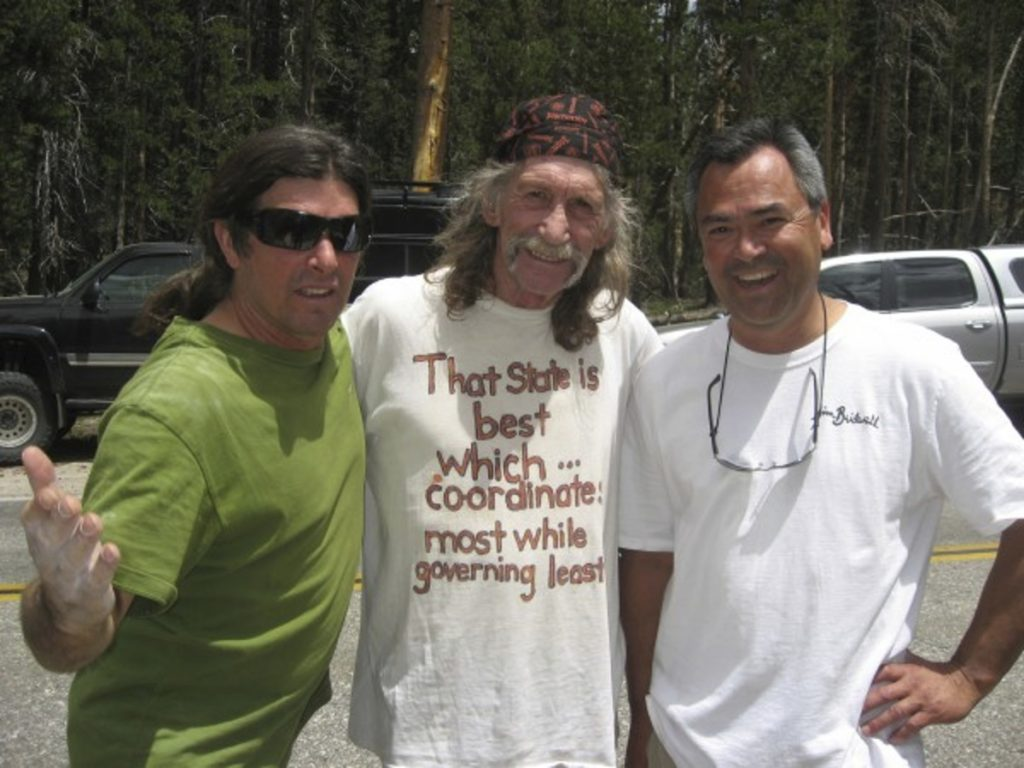 From left, climbers Ron Kauk, Jim Bridwell and Ron Gomez hang out in California's Yosemite National Park in 2015. Bridwell died of complications from hepatitis C that he may have contracted when he got a tribal tattoo in Borneo.