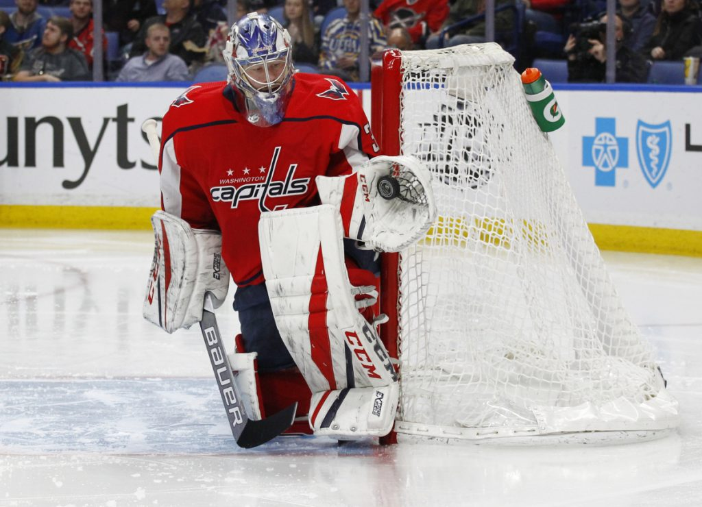 Capitals goalie Philipp Grubauer makes a glove save during the second period Monday against the host Buffalo Sabres.
