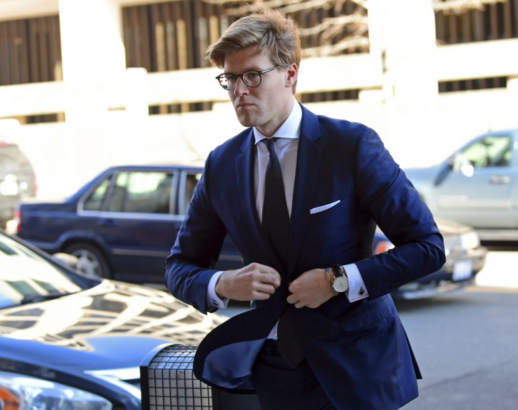 Alex van der Zwaan arrives at Federal District Court in Washington on Tuesday. Van der Zwaan pleaded guilty to lying to investigators about his interactions with Rick Gates, a former Trump campaign aide.