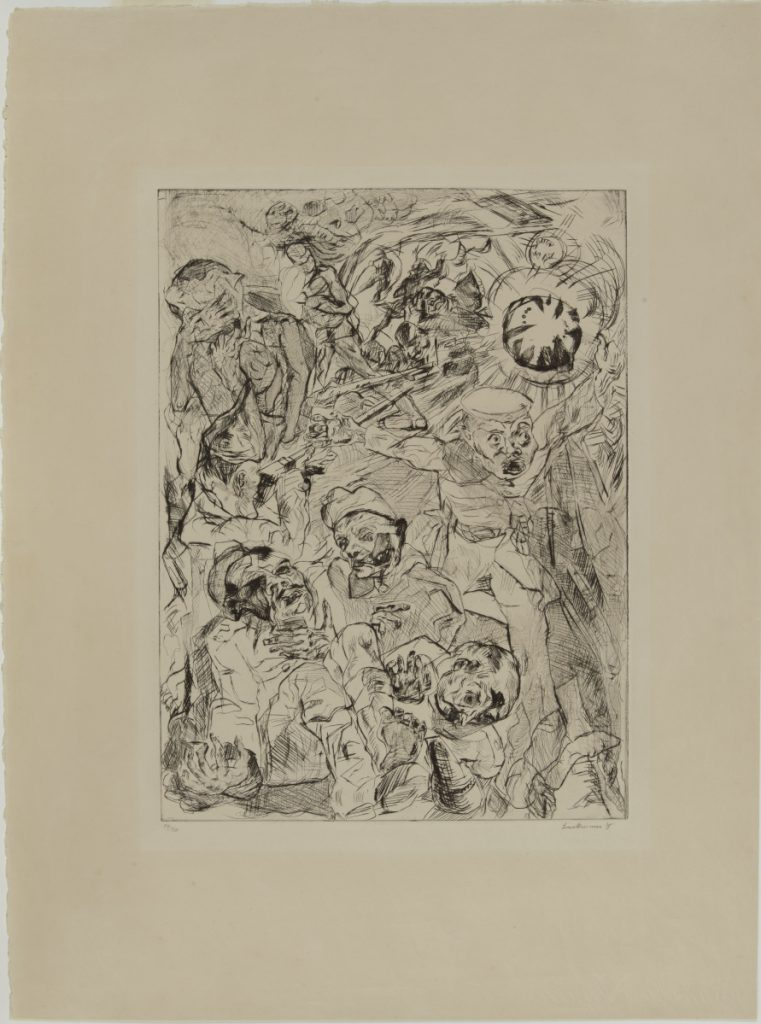"""Die Granate (The Granade),"" Max Beckmann, 1915. Drypoint on simili Japan, 25¼ x 18⅞ in. (64.1 x 47.9 cm). Colby College Museum of Art. The Norma Boom Marin Collection of German Expressionist Prints, 2017.449. © 2018 Artists Rights Society (ARS), New York / VG Bild-Kunst, Bonn"