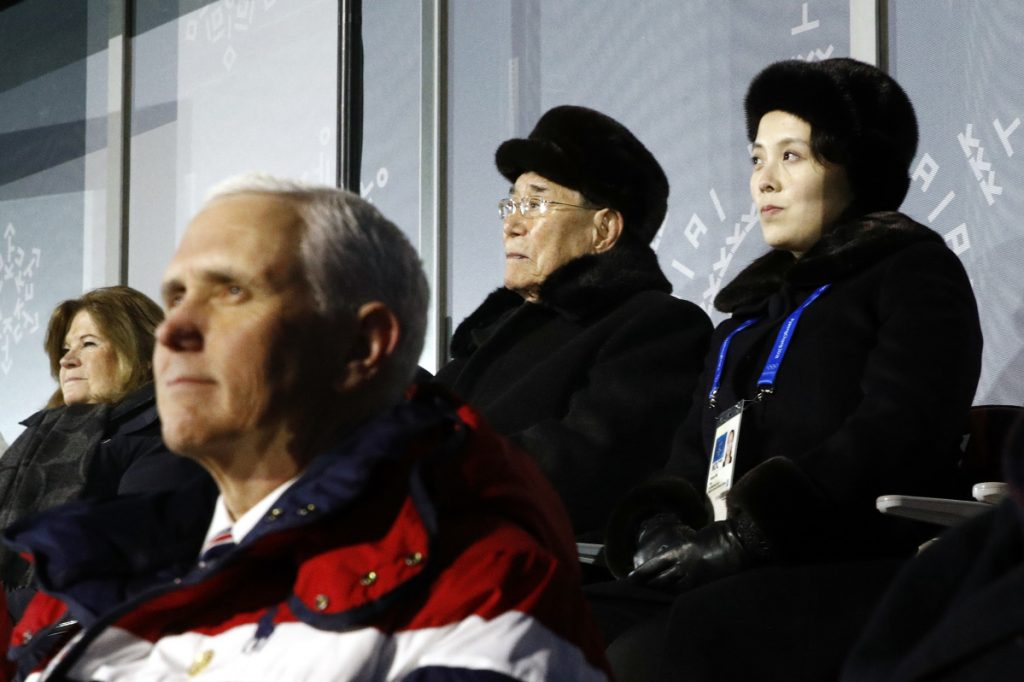 Kim Yo Jong, top right, sister of North Korean leader Kim Jong Un, sits alongside North Korea's nominal head of state Kim Yong Nam, and behind Vice President Mike Pence on Feb. 9 at the Winter Olympics in Pyeongchang, South Korea.