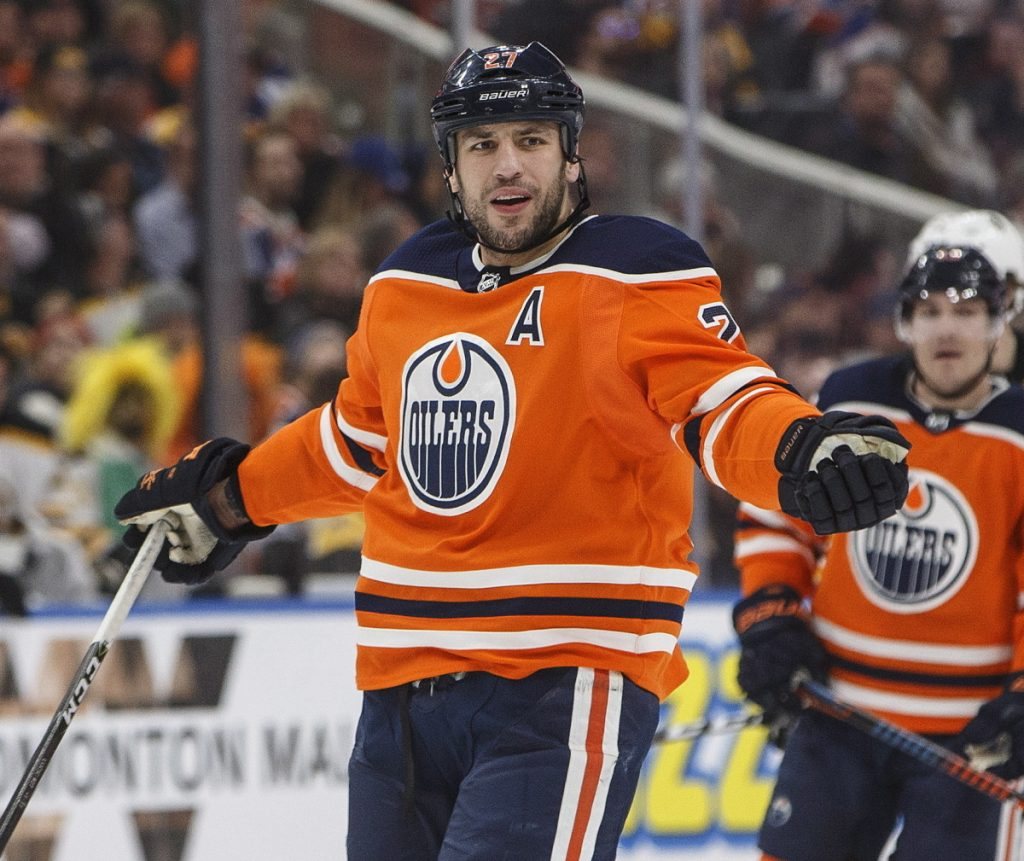 Milan Lucic of the Oilers reacts to a referee's call during the third period of Edmonton's 3-2 loss to the Boston Bruins on Tuesday in Edmonton, Alberta. Lucic was held off the scoresheet but has five points in five games against his old team.