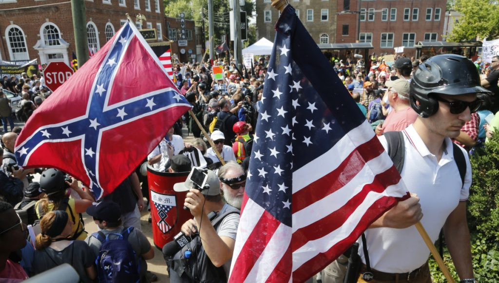 White nationalists demonstrate at a rally in Charlottesville, Va., last year.