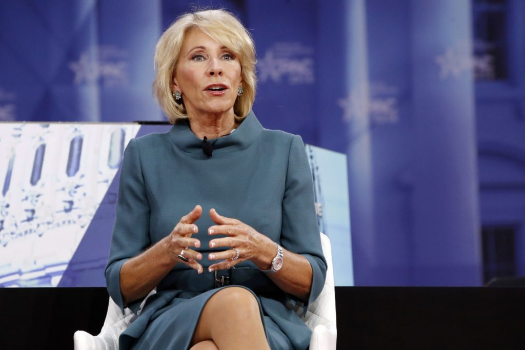 Betsy DeVos at a Conservative Political Action Conference at National Harbor, Md., on Thursday.