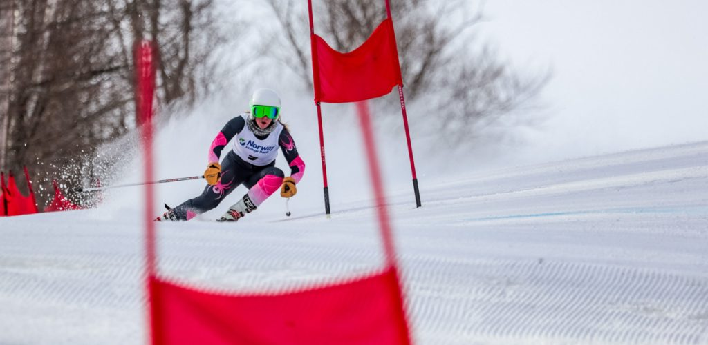 Annesley Black of Cheverus keeps her eyes ahead as she navigates a gate midway through her first run Friday in the giant slalom at the Class A Alpine championships at Mt. Abram. Black won the event.