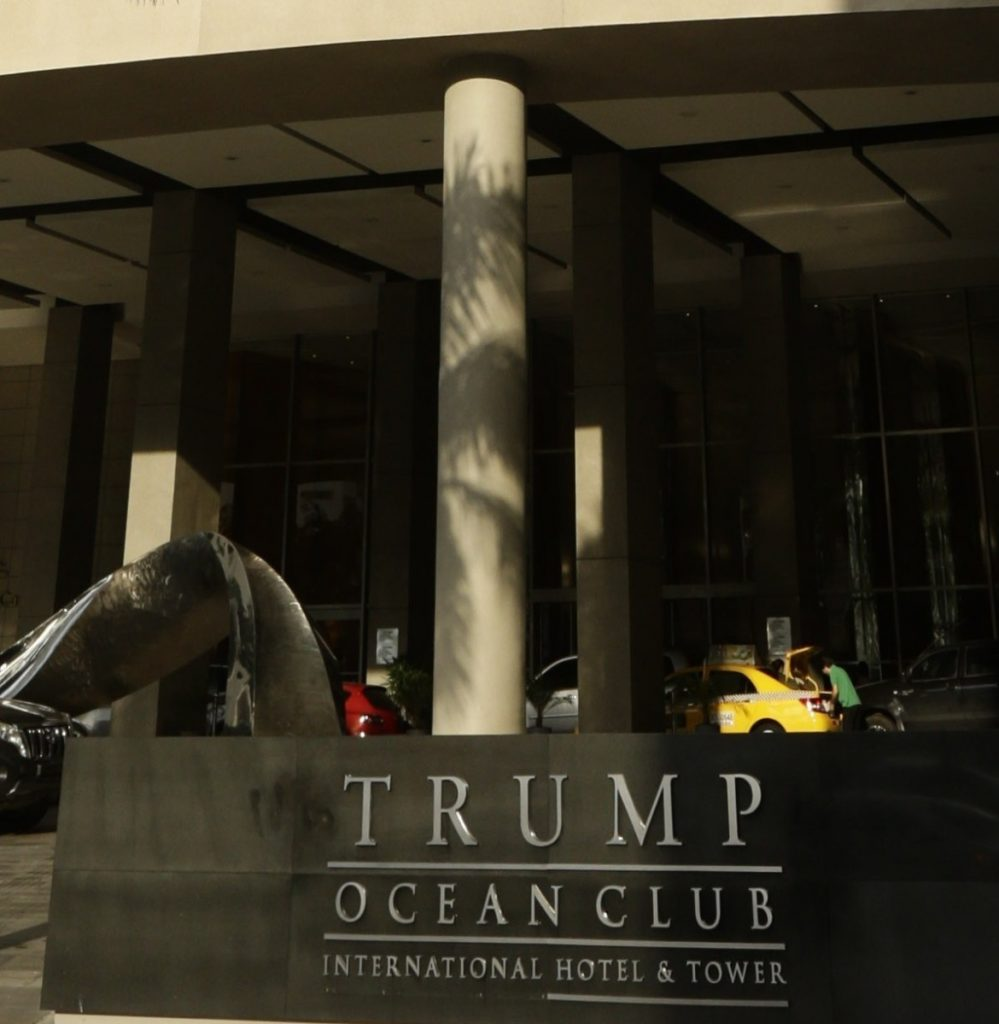 The entrance to the Trump Ocean Club International Hotel and Tower in Panama City. .