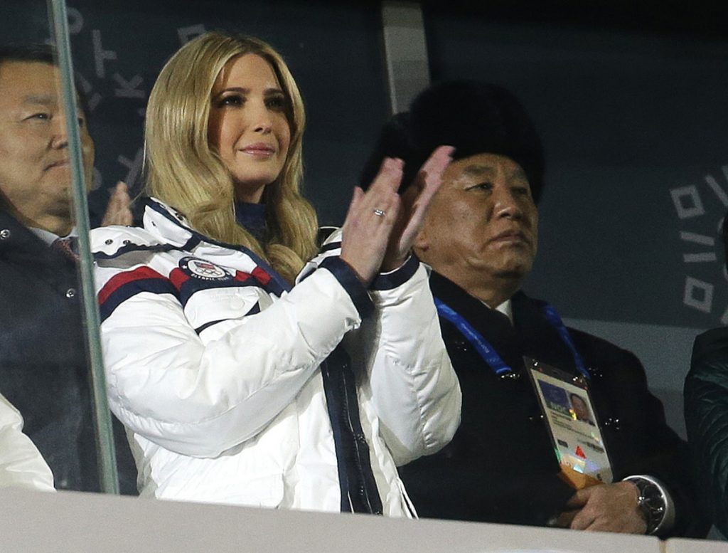 Ivanka Trump, President Trump's daughter, applauds during the closing ceremony of the 2018 Winter Olympics in PyeongChang, South Korea, on Sunday. At rear right is Kim Yong Chol, vice chairman of North Korea's ruling Workers' Party Central Committee.