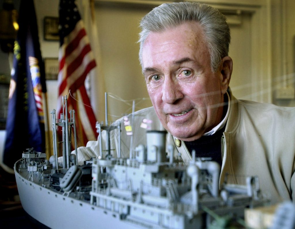 "In 1942 at age 13, Marshall ""Jack"" Gibson worked at the South Portland shipyard that built Liberty Ships similar to the model in the foreground above. Gibson, a generous philanthropist, told the Press Herald in 2011 that ""I never forget the things that people do for me."""