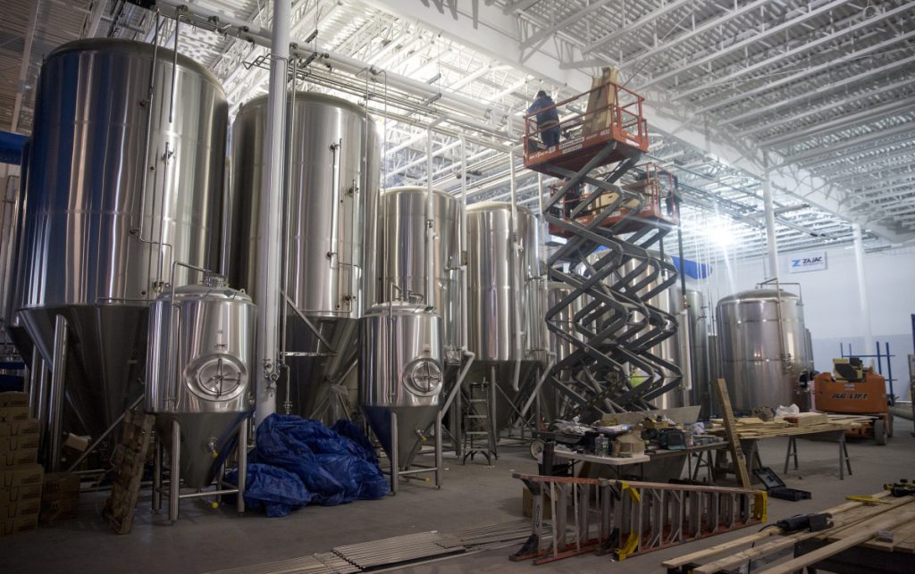 The new brewery has two fermenters that can make nearly 5,000 gallons at a time..