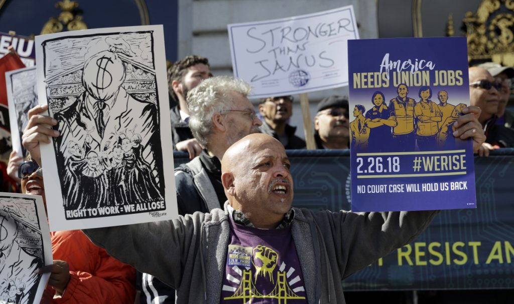 "A demonstration involving various labor union groups Monday in San Francisco. The Supreme Court is divided in a major organized labor case over ""fair share"" fees that nonmembers pay to help cover the costs of negotiations."