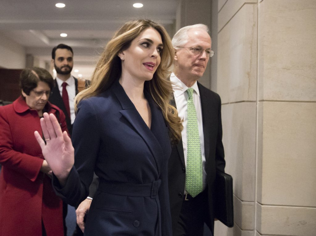White House Communications Director Hope Hicks arrives to meet behind closed doors with the House Intelligence Committee, at the Capitol on Tuesday.