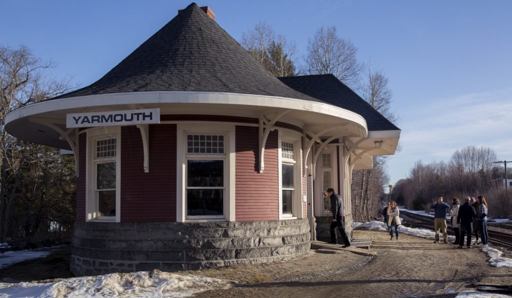 Visitors attended an open house Tuesday at the Yarmouth Grand Trunk Railroad Depot. The historic 1906 building still has many of its original features, including the ceilings, light fixtures and a ticket window. It is is being offered for $165,000 with a preservation easement through Maine Preservation's Protect and Sell Program.