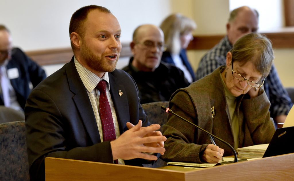 Joint Standing Committee on Taxation member Rep. Gay Grant, D-Gardiner, makes a point Tuesday about L.D. 1629, which would protect the elderly from tax-lien foreclosures, at the State House in Augusta. At right is Sen. Andre Cushing III, R-Newport.