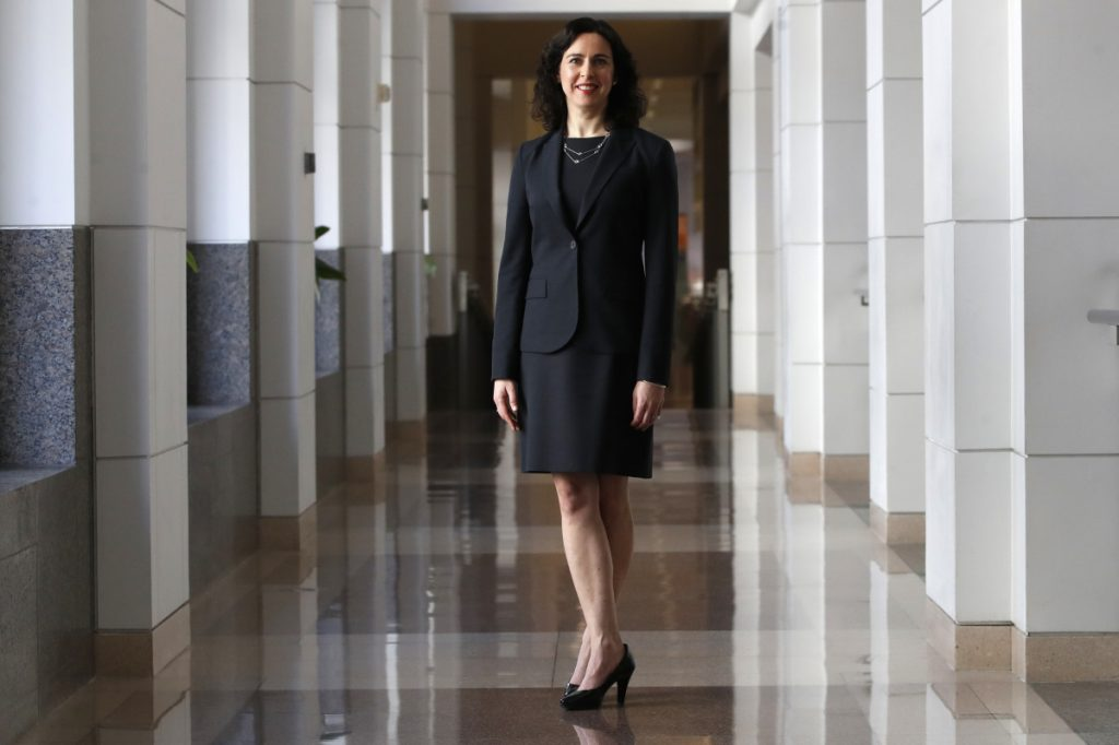 Marlene Laro, partner and COO of Potomac Law Group, at the Ronald Reagan Building and International Trade Center in Washington where her virtual law firm has a workspace.