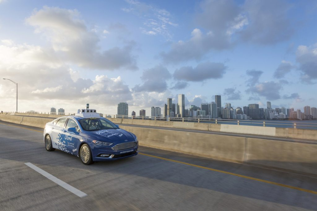 This undated image provided by Ford Motor Company shows a self-driving vehicle from Ford and Ford partner Argo Al in Miami, Fla. Ford is making Miami-Dade County its new test bed for self-driving vehicles. Argo AI already has a fleet of cars in the area making the highly detailed maps that are necessary for self-driving. Ford Motor Company via AP