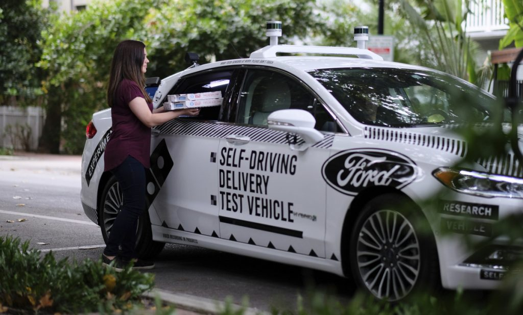 A self-driving vehicle from Ford in Miami, Fla. Ford, Domino's Pizza and other partners are testing to see how consumers react to autonomous delivery vehicles.