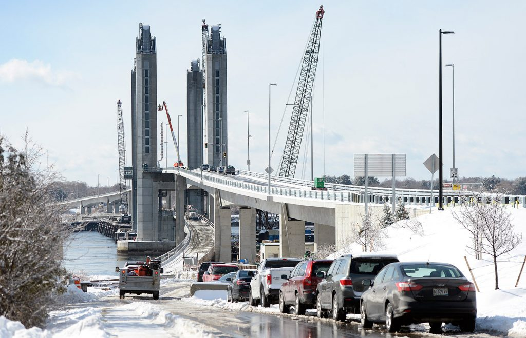 The new Sarah Mildred Long Bridge is seen from the Kittery side on Feb. 8.
