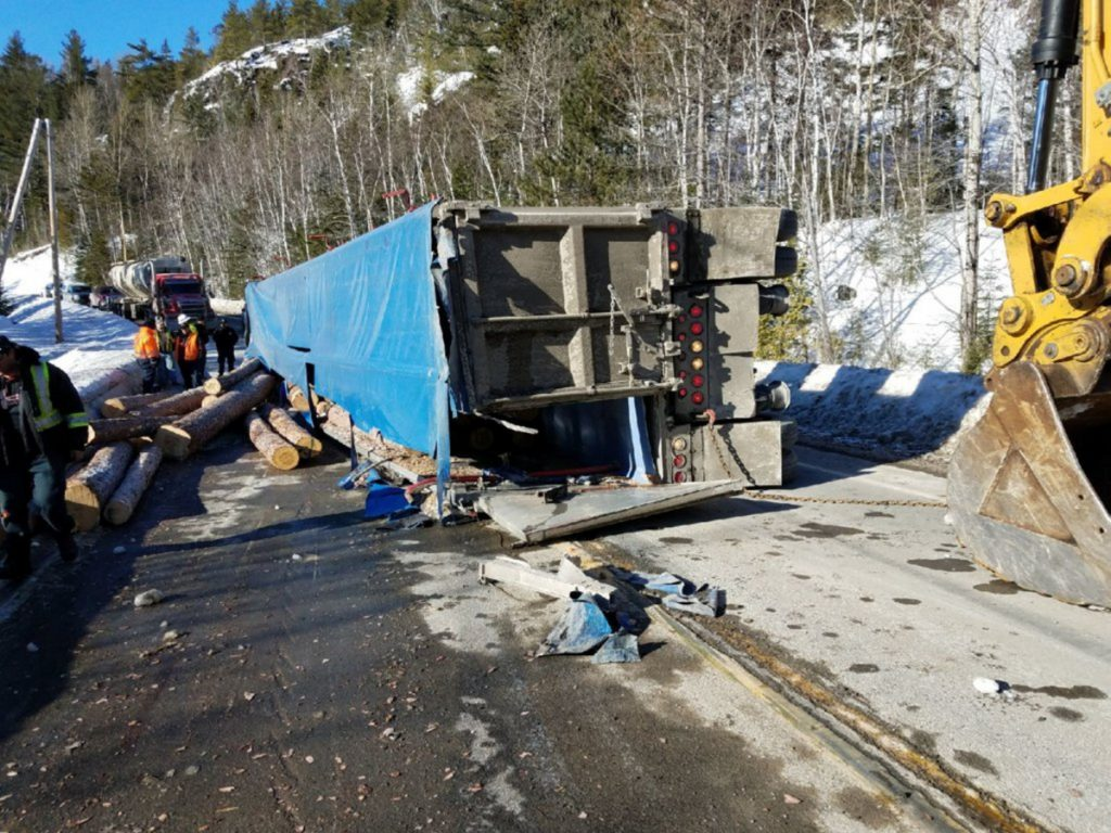 Timmy Philippon, 22, of Quebec, was injured Tuesday afternoon when the logging truck he was driving overturned on Route 27 in Chain of Ponds Township, Maine State Police Trooper Jillian Monahan said. The load of logs spilled across the road and some went into a pond.