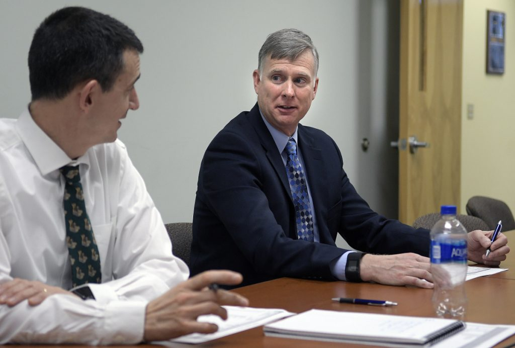 Maine State Police Col. Robert Williams, right, attending a meeting at his office at the Department of Public Safety in Augusta with Lt. Col John Cote, announced Tuesday that he's retiring to assume the position of security director at Colby College in Waterville.