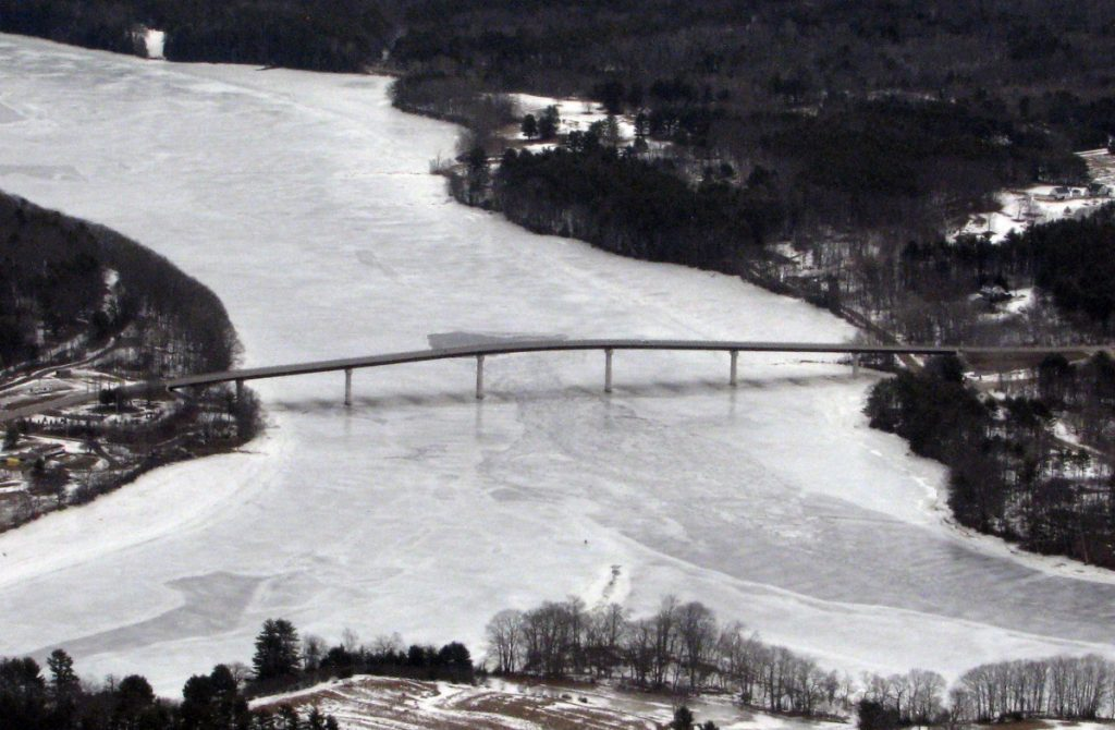 Ice continues to clog the width of the Kennebec River on Thursday around the Maine Kennebec Bridge, which links Richmond and Dresden. The Coast Guard obtained this aerial view in preparation for send ice-breaking boats up the river next week.
