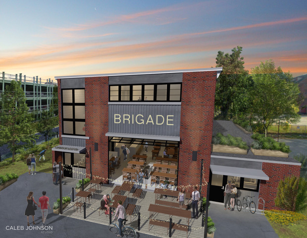 An artist's rendering depicts the proposed renovation of the former Lincoln Street firehouse in Lewiston. Two Portland-based developers have an option on the city property and hope to redevelop it by moving in a restaurant or brewery this year. (Submitted photo)