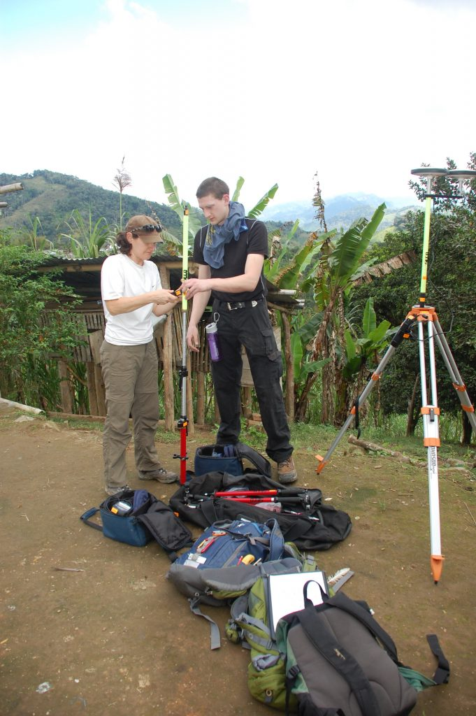 Helena Hollauer of Envirotech Associates  and Brian Nielsen of Talmage Solar Enginering, Inc., begin the surveying process for the Portland EWB chapter's effort in El Progreso, Ecuador.