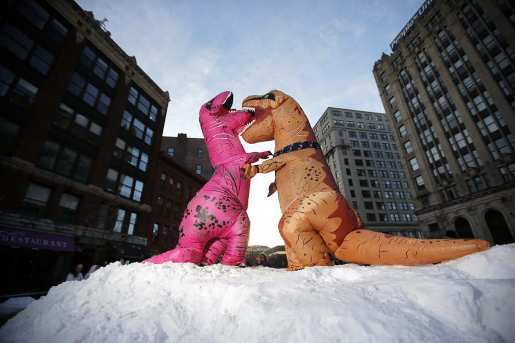 Costume-clad Diane Aceto, left, of Sebago, and Stacey Smith of Stratford, Connecticut, pretend wrestle at the top of a snow mound in Monument Square. Dozens of Tyrannosaurus rex-costumed people and onlookers flooded the Square as part of a planned event.