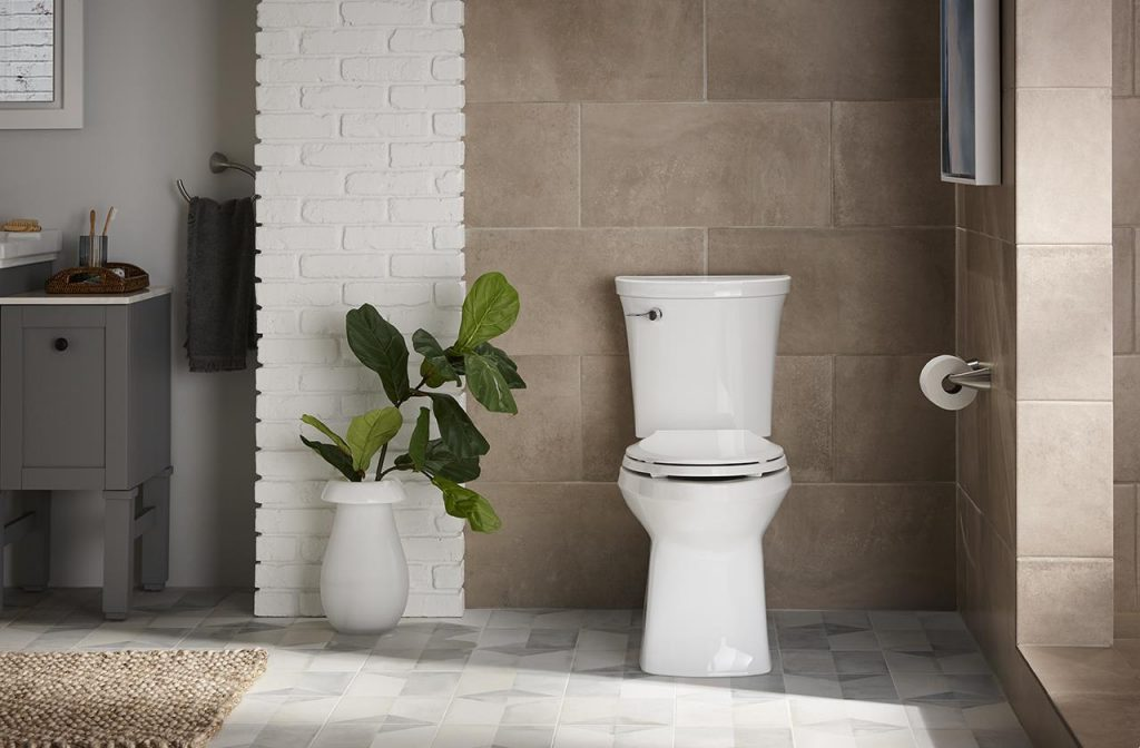 The Kohler-made Corbelle toilet with Revolution 360 flushing is designed to remain cleaner, longer.