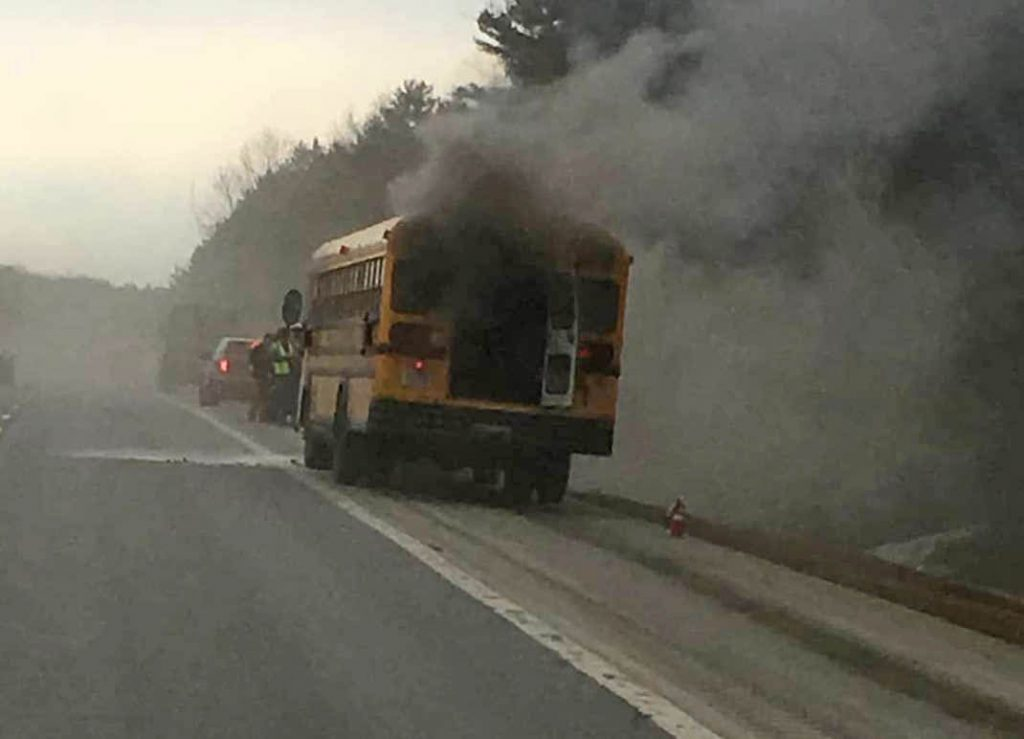 A Hermon school bus caught fire on Interstate 95 southbound in Orono on Wednesday, Maine State Police report. The children and driver got off safely, according to a state police Facebook post. Traffic was temporarily reduced to one lane.