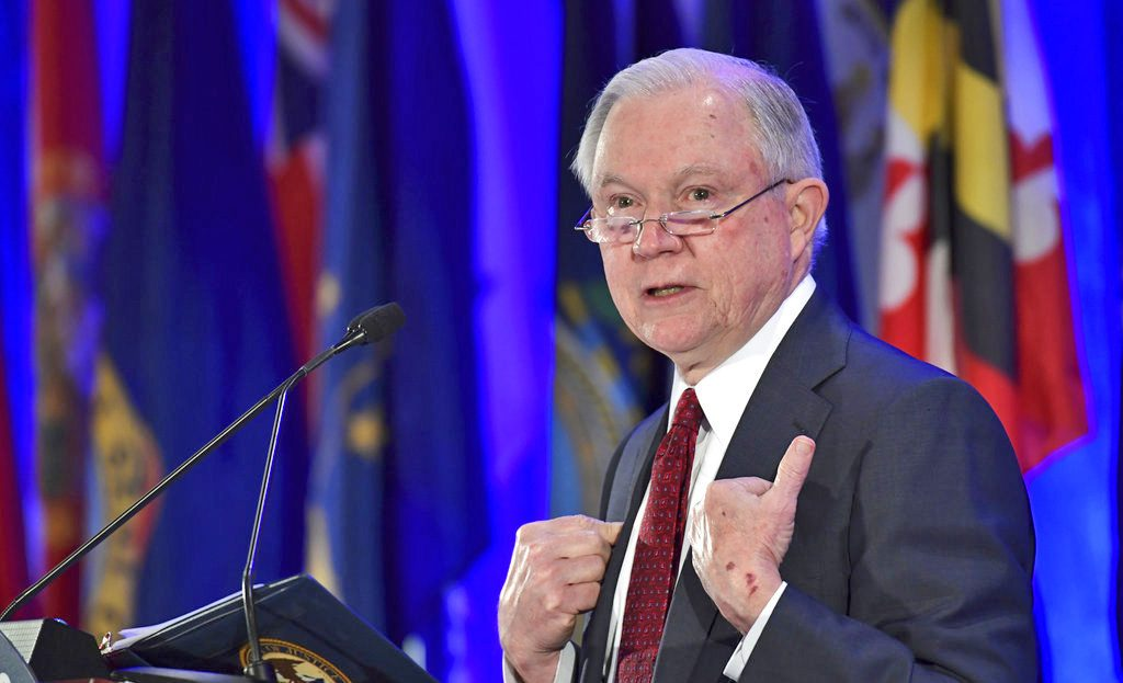 Attorney General Jeff Sessions delivers remarks to the National Association of Attorneys General in Washington Tuesday.