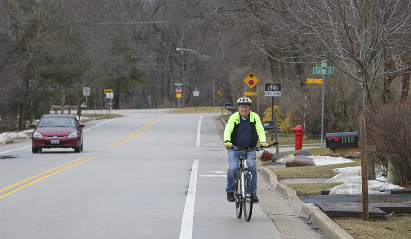 Bill Gurolnick rides his bike near his home in Northbrook, Ill. Gurolnick, who turns 87 in March 2018, is participating in Northwestern University's SuperAger study.