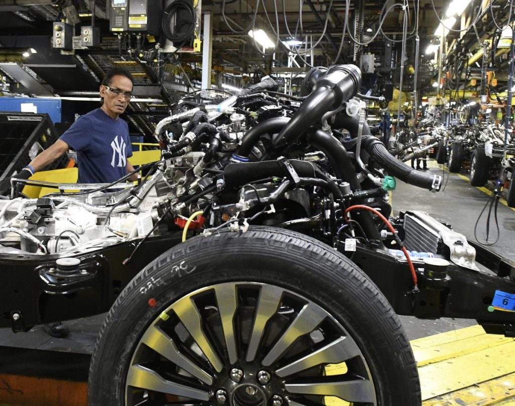 Workers assemble trucks at a Ford plant in Louisville, Ky. Among 18 manufacturing industries, 15 reported growth in February, including transportation equipment and electronics.