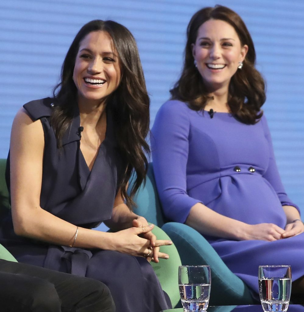 "Britain's Kate, duchess of Cambridge, right, and Meghan Markle attend the first Royal Foundation Forum in London in March, with the theme ""Making a Difference Together."""