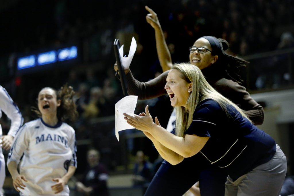Amy Vachon cheers on the University of Maine women's basketball team during a game versus Binghamton at the America East tournament at the Cross Insurance Arena in March 2017. Vachon has signed a four-deal to becomes Maine's head coach.